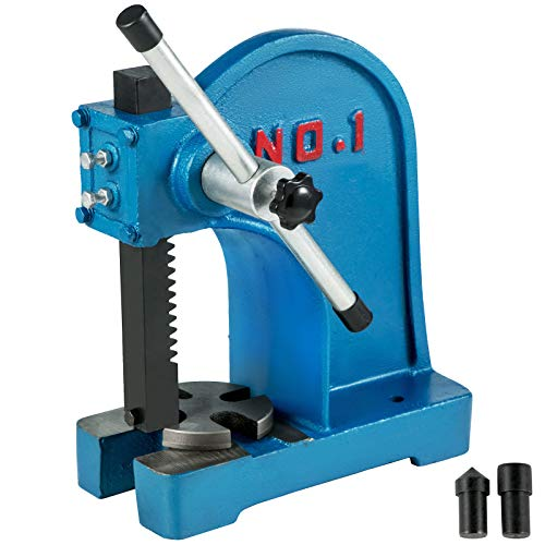 BestEquip Manual Arbor Press 1 Ton, Heavy Duty Arbor Press with 4-5/8 Inch Maximum Height, Manual Desktop Arbor Press Cast Iron Material, for Riveting Punching Holes