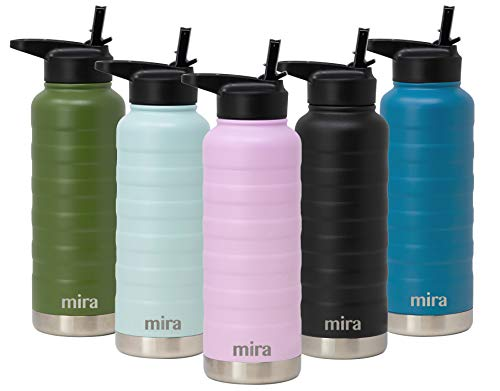MIRA 32 Oz Stainless Steel Vacuum Insulated Ridge Water Bottle | Double Walled Thermos Flask | 24 Hours Cold, 12 Hours Hot | Reusable Metal Water Bottle | Leak-Proof Sports Bottle | Lilac