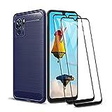 GOGME Serie Fibra di Carbonio Cover per Xiaomi Redmi Note 10 4G / Redmi Note 10s + 2 Vetro Temperato, Ultra Sottile TPU Flessibile Protezione Custodia, Anti-Slip Antiurto Sottile Case Caso - Blu