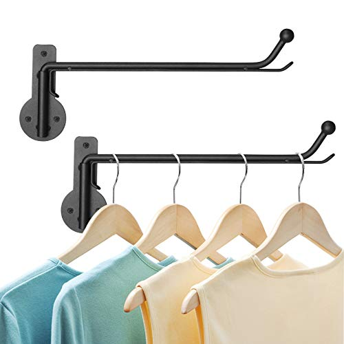 HOUSE DAY 2 Pack Wall Mounted Clothes Hanger with Swing Arm Holder Valet Hook Metal Hanging Drying Rack Space Saver Organizer for Closet Bathroom Bedroom Laundry Room Black