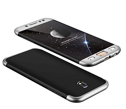 cmdkd Funda Compatible con Samsung Galaxy J7 2017,Bumper 3 en 1 Estructura 360 Grados Integral para Ambas Caras Hard Skin Carcasa + Cristal Templado.Plata Negro
