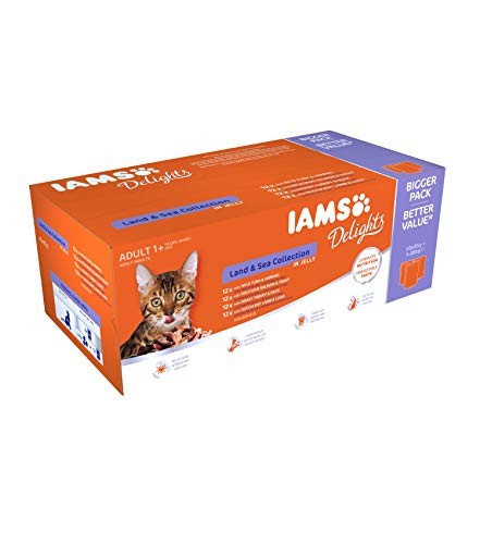 IAMS Delights Wet Food Land and Sea Collection for Adult Cats with Meat and Fish in Jelly, 48 x 85 g