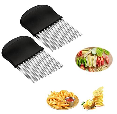 2 cuchillas onduladas para patatas fritas de acero inoxidable, cortador ondulado de patatas, cortador de patatas, cortador de verduras, cortador de ensalada de acero inoxidable