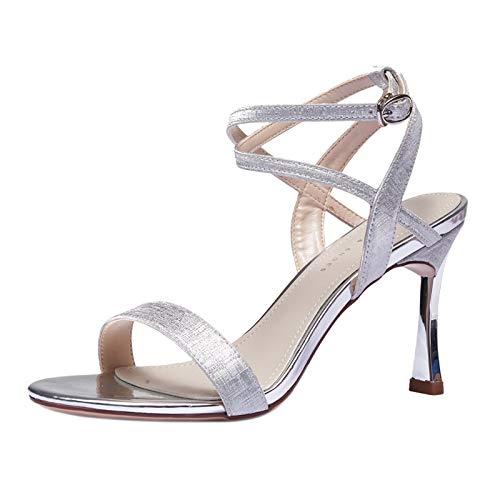 ZQXDMM sandalen met hoge hakken, voor dames, zomer, comfortabel, kleur: zilver, maat: 34