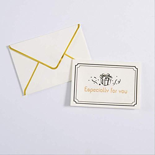 Wenskaarten BLTLYX 10st Kerstmis en Verjaardag Wenskaart Goud Hot Stamping Creatief Nieuwjaar Bedankkaart Feest Trouwkaarten Briefkaarten 10 * 7cm Blauw