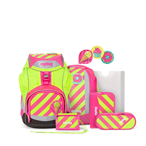 Ergobag Pack StrahleBär, Neo Edition, ergonomischer Schulrucksack, Set 6-teilig, 20 Liter, 1.100 g, Pink