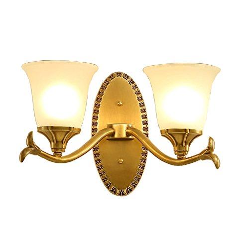 Vast Monotête wandlamp van koper met wit glas lampenkap trap LED E14 nachtlamp 16 cm x 27 cm 224