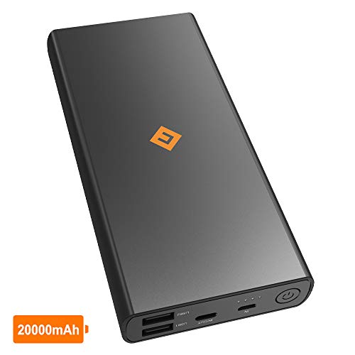NOVOO 20000mAh Powerbank Externer Akku 3 Ausgänge 2 USB A mit Smart IC & 1 USB C 5V 3A für Handy iPhone 6 7 8 X Samsung Galaxy S7 S8 Huawei 20000 Kompakt Power Bank Tragbar Ladegerät