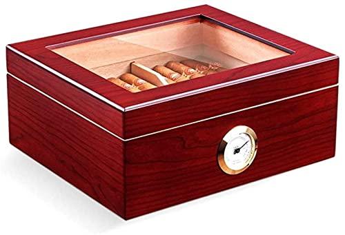 Caja de Puros con higrómetro y humidificador Techo corredizo de Vidrio de Gran Capacidad para 25 a 50 Puros Traje de Hombre Caja Decorativa (Color: Marrón), YKHAO