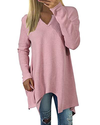 Zanzea Mujer Camisetas Tallas Grandes Blusa Irregular Cuello V Manga Larga Color Sólido Casual Tops Jersey de Punto Rosado M