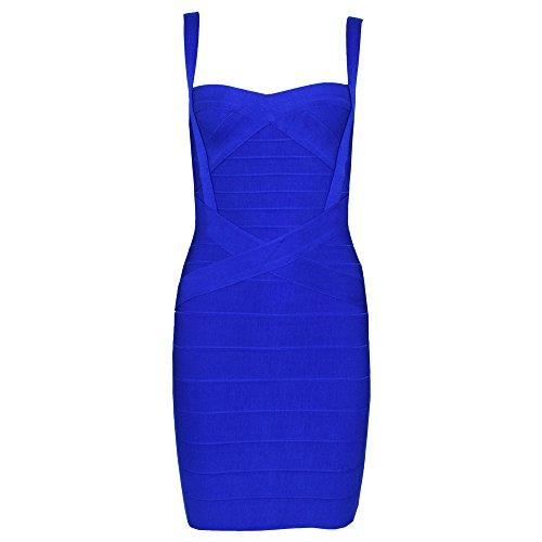 HLBandage Spaghetti Strap Women's Rayon Mini Bodycon Bandage Dress(L,Azul)