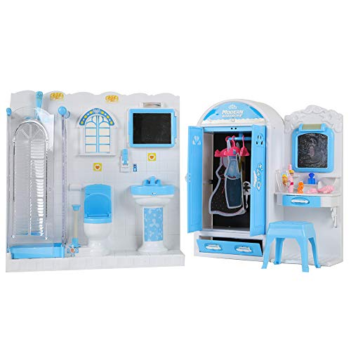 Hillo Doll House Living Room, Kitchen, Bathroom, Laundry, Bedroom, Workbench, Makeup Table and Drawing Pad Accessories Furniture Selection (Bathroom Set)
