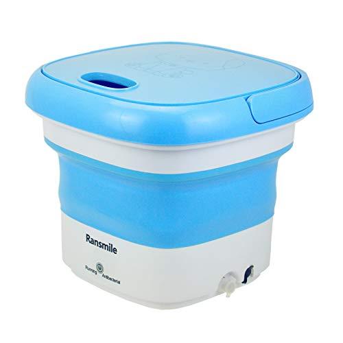 Portable Mini Folding Washing Machine Small Laundry Tub Wonder Magic Compact Washer Clothe Bucket With Spinner(Blue)