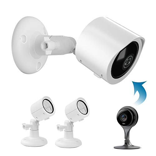 HOLACA Outdoor Mount Bracket for Google Nest Cam Indoor Wired Home Security Camera, Weather Proof Protective Cover and Adjustable 360 Degree Mount for Nest Indoor Camera (2 Pack, White)