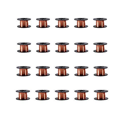 Alambre esmaltado de cobre de 0,1 mm, 20 rollos, 10 rollos, 5 rollos de alambre de reparación de bobinado magnético, 15 m para conectar o soldar, 1