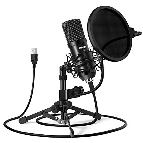 USB Gaming Microphone, Risea Computer Condenser PC Mic with Tripod Stand & Pop Filter for Streaming, Podcasting, Gaming, Vocal Recording, Compatible with iMac PC Laptop Desktop Windows Computer