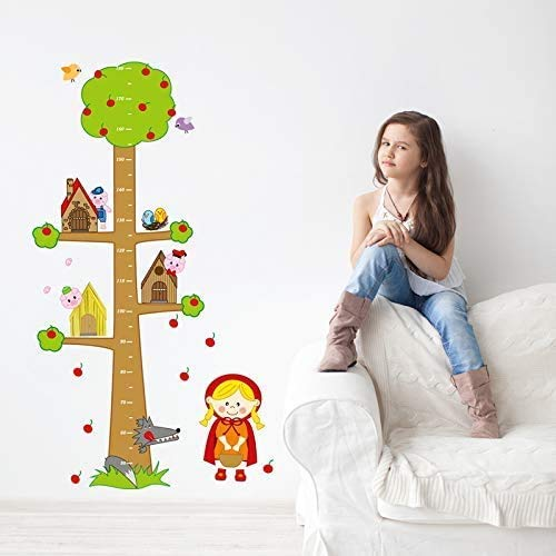YFQEGM 80X150,Wall Stickers,Wall Tattoos,Cartoon Animals Apple Tree Height Measurefor Kids Room Bedroom Kindergarten Eco-Friendly Vinyl