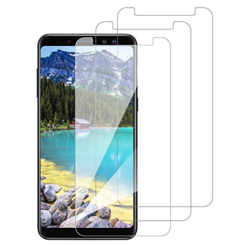 [3 Pack] Amonke Protector Pantalla para Samsung Galaxy A8 2018 Cristal Vidrio Templado, Plana pero Incompleta Cobertura, 9H Dureza 2.5D curvo Borde Screen Protector para Samsung Galaxy A8 2018