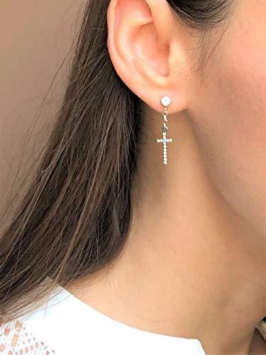 Single earring - Dangle cross earring 14K Gold Fill with CZ, mens or womens earring.