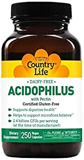 Country Life - Natural Dairy-Free Acidophilus with Pectin - 250 Vegan Capsules