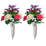 Artificial Graveyard Flower with vase, Flowers for Cemetery, Memorial Flowers, Perfect Gravestone Decorations for Cemetery (2)