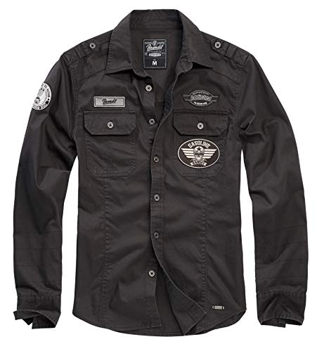 Gasoline Bandit Biker Racer Worker Vintage Used Look Hemd mit Patches 2XL