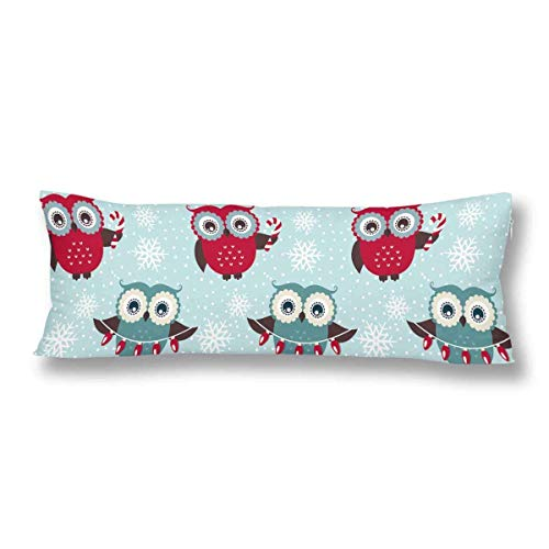 CiCiDi Body Pillow Case 5ft(50cm X 150cm) Funny Cartoon Owl Soft Cotton Machine Washable with Zippers Maternity/Pregnancy Pillow Cover