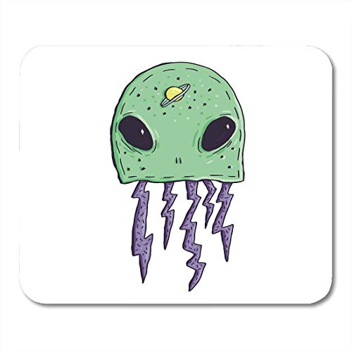 AOHOT Mauspads Green Bright Weird Trippy Alien Saturn and Lightning of in White Cartoon Mouse pad 9.5