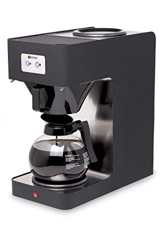 HENDI Kaffeemaschine, Schnellfiltersystem, für gemahlenen Filterkaffee, mit 1,8L Glaskanne, Polypropyplen Filterhalter und Deckel, mit 2 Warmhalteplatten, Edelstahl