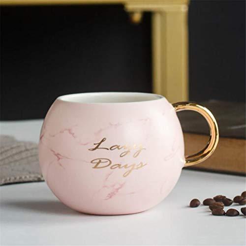 JJIU Regalo de la Novedad de la Taza de la Bebida de la Taza de la Leche de la Taza de café de cerámica de mármol (Color : Pink)