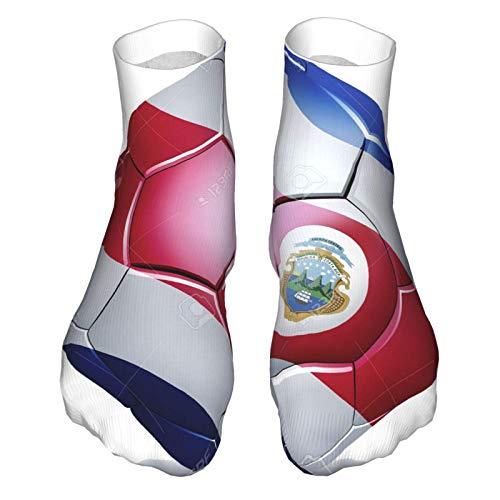 Calcetines de corte bajo que absorben la humedad, calcetines de tobillo deportivos casuales para mujer y hombre con bandera de Rica en balón de fútbol, calcetines suaves, bota Socklk