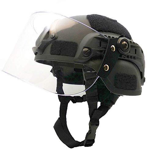 MEYLEE Mich 2000 Taktischer Helm mit Schutzbrille, Typ PJ Leichter, schneller Schutzhelm für das Airsoft Paintball CS-Kriegsspiel im Freien,Black
