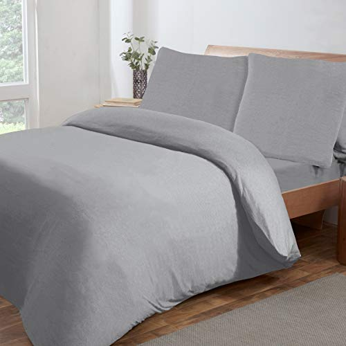 Sleepdown Jersey Melange Grey Warm Cosy Easy Care Plain Yarn Dyed Duvet Cover Quilt Bedding Set - 135cm x 200cm + 1 Pillowcase 80cm x 80cm