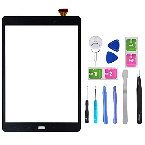 Black Touch Screen Digitizer for Samsung Galaxy Tab A 9.7' - Glass Replacement for SM-T550 SM-T555 T550 T555 (Not Include LCD) with Tools + Pre-Installed Adhesive