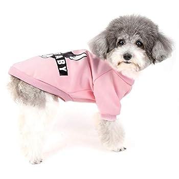 Zunea Vetement pour Petit Chien Manteau Hiver Pull-Overs Sweat en Coton Rembourré Chiot Veste Costume pour Chien Chat Yorkshire Chihuahua Rose L