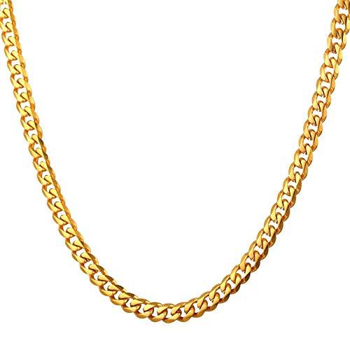 Daesar Collar Cadena Oro Hombre Cadena Curb Collares de Cadena Acero Inoxidable Hombre 9mm Collar de Cadena Hombre 76cm