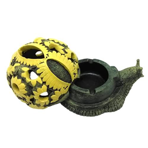 Cenicero, cenicero de dibujos animados lindo, forma de caracol de tortugas de personalidad, cubierta de gris antivuelo, puede servir como un regalo festivo
