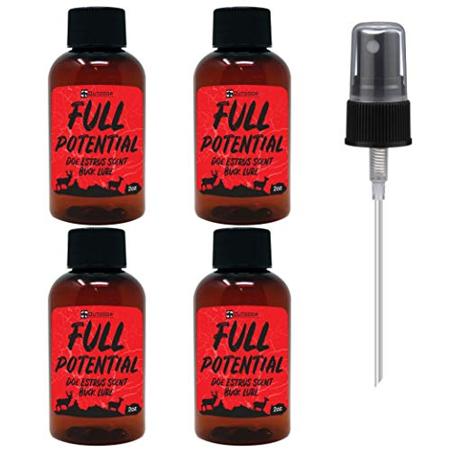 Outdoor Hunting Lab Full Potential Doe Estrus Scent 2 oz [4 Bottle Pack] - Real Whitetail Deer Urine - Buck Lure for Hunting, Deer Attractants and Scents