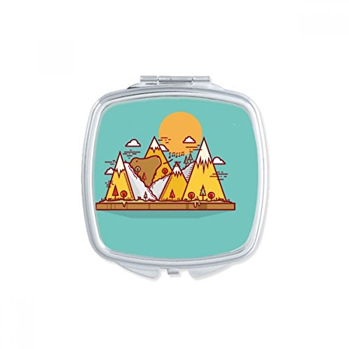 DIYthinker Cartoon Ours Animal carré Rose Maquillage Compact Miroir de Poche Miroirs Mignon Petit Cadeau Portable à la Main Multicolor
