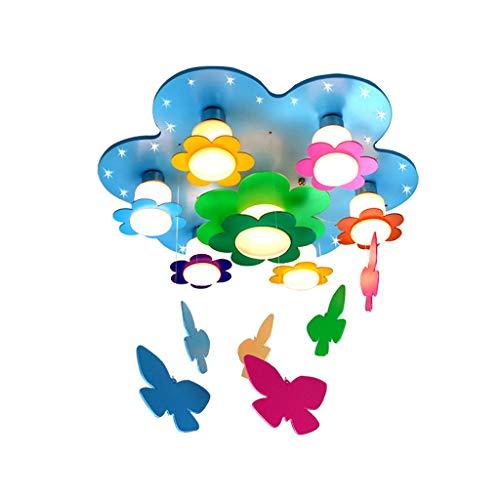 JLXW Hanglamp in de vorm van een vlinder van karton Animato hanglamp van hout lampenkap van glas oogbescherming voor kinderen kinderkamer