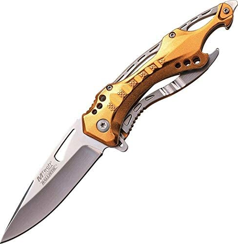 Linerlock A O Folding Knife Over item handling Stainless Gold 3.25