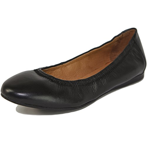 Alpine Swiss Womens Vera Ballet Flats European Made Leather Shoes Black 8 M US