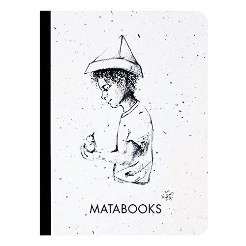 Matabooks, nachhaltige und vegane Notizbücher A6 aus Graspapier, Samenbuch, 108 blanko Seiten, Natur, Handmade, Made in Germany (Fallenbird)