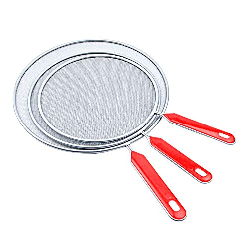 Grease Splatter Screen For Frying Pan, 3 Pcs 7.5', 8.3',9.85' Stainless Steel Grease Splatter Guard, Fine Mesh Iron Skillet Lid Protector Guards Oil Cooking Cover for Kitchen Frying Pan Cooking