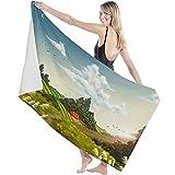 Toalla de Microfibra Secado rápido, Ligera, Absorbente, Suave y grante Yoga, Fitness, Playa, Gimnasio Hermoso Paisaje de Field Farm Village 130X80cm