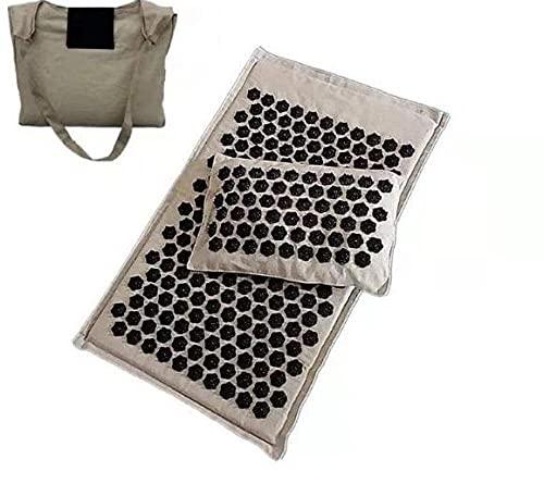 fuwz Esterilla de acupresión,set de acupresión,incluye cojín para el cuello y bolsa de transporte,Esterilla Masaje para Alivio del Dolor Muscular del Espalda/Cuello/Pies,Beige negro