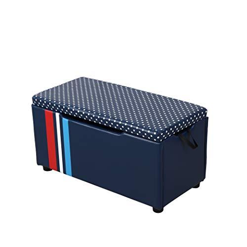 HOMCOM Kindersitzbank, Sitzhocker, Aufbewahrungsbox, Polsterbank mit Stauraum, Truhenbank, Schaumstoff, Abnehmbar, Faltbar, Blau, 75 x 36 x 39 cm