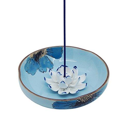 Räucherstäbchenhalter aus Keramik Porzellan Asiatisch Räucher-Zubehör Lotos Handbemalt Blume, Räucherschale Halter zum Räuchern von Räucherstäbchen