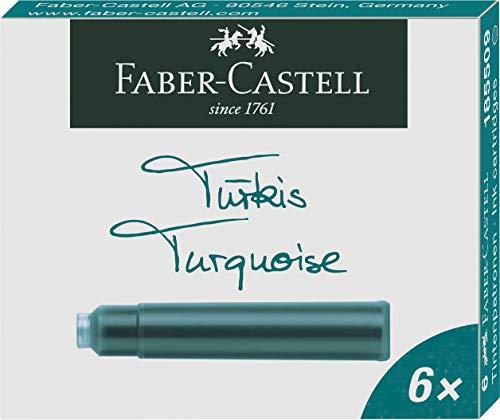 Faber-Castell 185509 - Tintenpatronen Standard, 6er Pack, türkis
