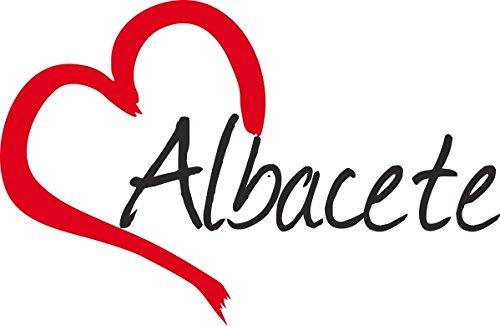 """Vinilo Adhesivo para el coche o la moto """" ALBACETE """" (Ciudad) corazón Sticker ca.9x13cm Pegatina sin fondo"""